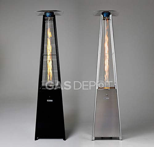 Gasdepot Real Flame Outdoor Pyramid Patio Heater (13KW) - Black or Stainless Steel Edition (Black)