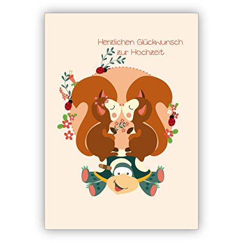 Niedliche Hochzeitskarte mit Schildkröte und küssenden Eichhörnchen: Herzlichen Glückwunsch zur Hochzeit • edle Glückwunschkarte für den schönsten Tag des Lebens