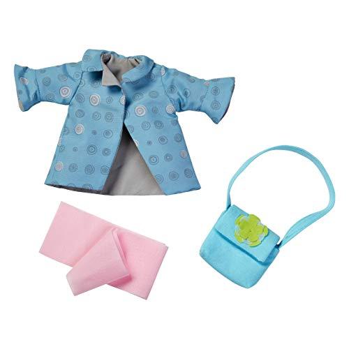 HABA 304585 - Kleiderset Herbstwind, Puppenzubehör für 32 cm große HABA-Puppen, Set aus Jacke, Schal und Tasche, Spielzeug ab 18 Monaten