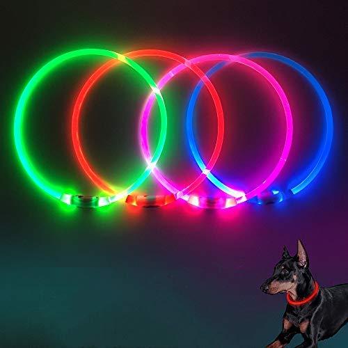 Domi Collares para Perro Luces LED Brillantes – USB Recargable Intermitente Collares para Mascotas para Mantener a Tus Perros ser vistos y Estar Seguros, tamaño Ajustable, de TPU con luz