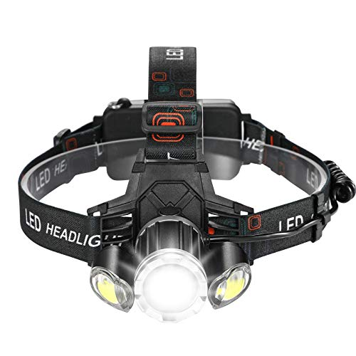 Consciot Headlamp, USB Rechargeable Headlight 1000lm Bright T6 LED Zoomable Flashlight with 4 Modes, Wide Beam Angle Waterproof Work Light, Head Lamp for Outdoor Camping, Fishing, Hiking, Cycling