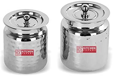 Kitchen Expert Stainless Steel Storage Pot for Oil Ghee Ghee Container With Hammered Texture product image