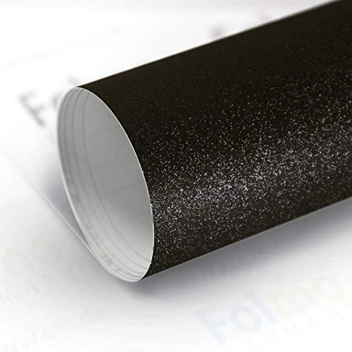 33,04€/m² Auto Folie Streifen Glanz, Matt, Carbonfolie mit Luftkanal (Schwarz Glitzer 50x121cm)