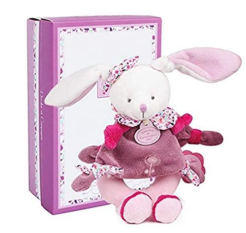 Doudou et Compagnie - Doudou Hochet Bébé Fille - Hochet Lapin - Rose - Jolie Boîte Cadeau - Lapin Cerise - DC2700