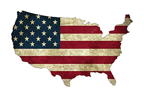Rogue River Tactical USA American Flag Metal Tin Sign Wall Decor Man Cave Bar US United States Rustic Cut Out Outline
