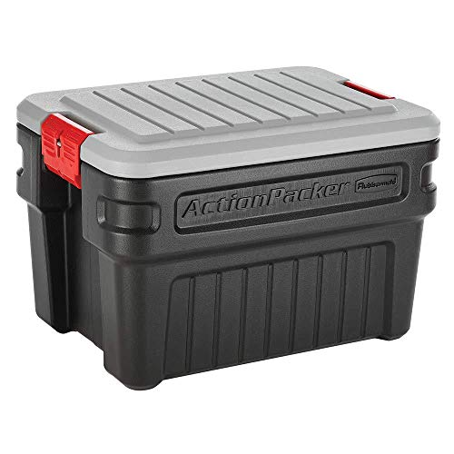 Rubbermaid 24 Gallon Action Packer Lockable Latch Indoor and Outdoor Storage Box Container, Black