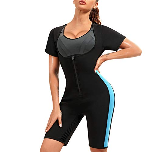 Scarboro Sauna Suits for Women Neoprene Workout Slimming Full Body Shapwear Sweat Shaper Waist and Thigh Trainer for Women with Sleeve Black Large