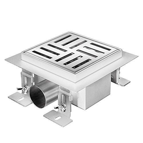Zelsius Moderne Edelstahl Duschrinne | Verschiedene Modelle und Größen für ebenerdige Dusche | quadratischer Bodenablauf, Duschablauf, Bodenrinne (Cowell, 12 x 12 cm)