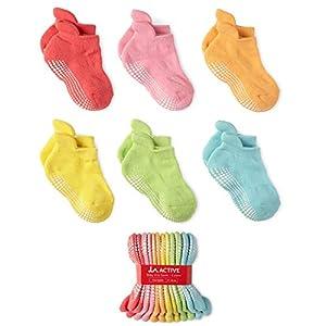 LA Active Tobillera Calcetines Antideslizantes - 6 Pares - para Bebé Niños Niñas Infantil Recién Nacido (Colores Brillantes, 6-12 Meses)