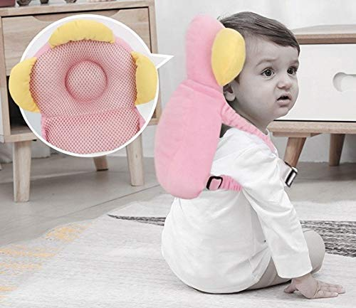 RAM PRODUCTS Baby Head Protector for Crawling or Corner Guard | Protection Helmet and Infant Headrest Pillow with Front Safety Lock (4-15 Months) (Pink.)