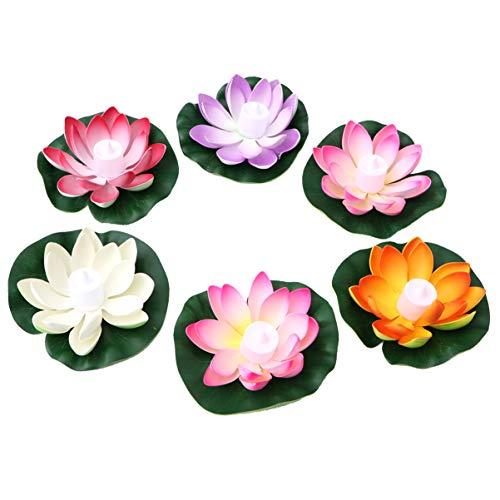 Uonlytech 6 Stück Schwimmende Blumen LED Kerzen Künstliche Seerosen Lotus 18CM Wishing Laterne Garten Teich Pool Ostern Festival Party Dekoration (Gemischte Farbe)