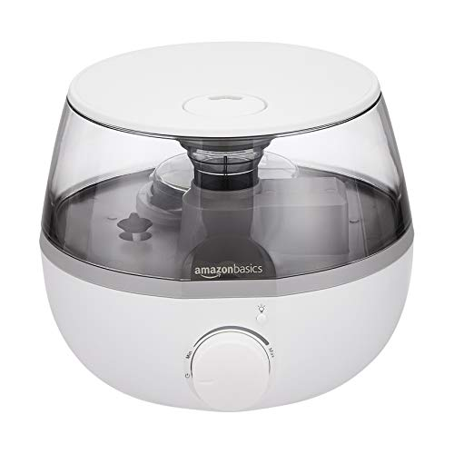 Amazon Basics Ultrasonic Cool Mist Humidifier with Essential Oil Diffuser and Nightlight, Knob...