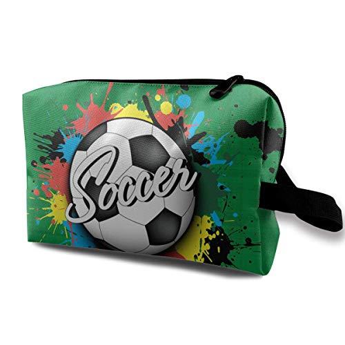 zjipeung Balón de fútbol ymanchas de Pintura -2 Bolsa de cosméticos de Viaje, Bolsa de cosméticos Personalizada Personalizada, Liviana y Conveniente #1053#