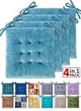 WONDER MIRACLE 4 Pack Seat Cushion/Chair Cushion Pads for Dining Chairs, Office Chair, Car, Floor, Outdoor, Patio,Machine Wash & Dryer Friendly (Flannel 16'×16', Light Blue)