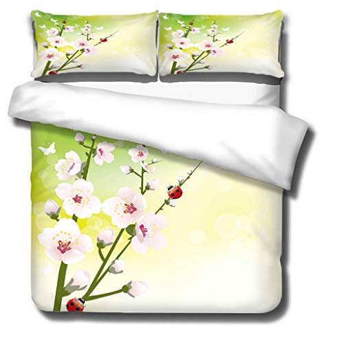 King duvet cover 3D printed Flower and ladybug pattern 3 pieces of bedding, super soft polyester duvet cover 220x230cm + 2 pillowcases 50x75 cm