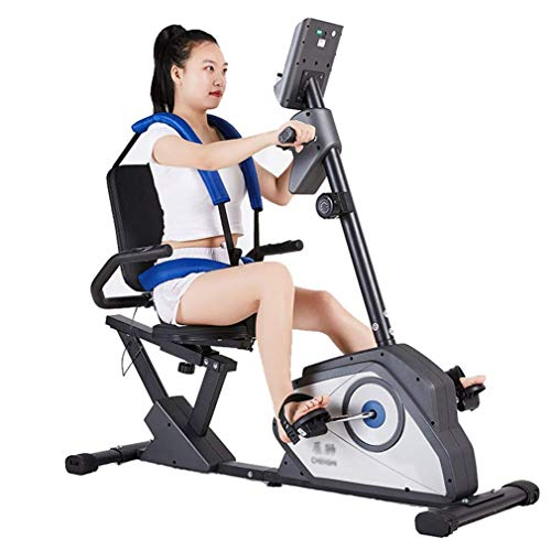 Pedal Trainer Home Physiotherapy Fitness Mini Bike Arm & Leg Rehabilitation Pedal Machine Stationary Foot Pedal Exerciser Cycle Bike with Reversible Armrests and Seat Belts