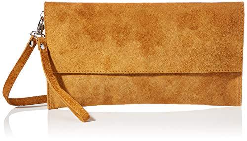 AMBRA Moda Damen Wildleder Clutch Handtasche veloursleder Tasche Handschlaufe WL811 (Cognac)