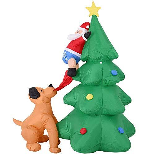 Bakaji Gonfiabile Albero con Babbo Natale e cane Luci a LED Altezza 180 cm Sistema Autogonfiabile Protezione IP44 Addobbo e Decorazione Natalizia da Esterno