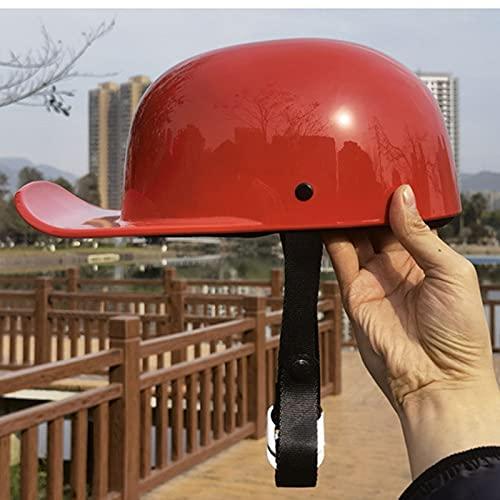QHHALXZ Gorra de béisbol de cara abierta para hombre y mujer, estilo alemán con certificado DOT, casco de calavera negro, casco de cara abierta