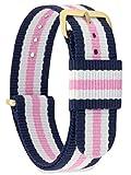 MOMENTO Cinturino Nato per Orologio Uomo Donna con Fibbia in Acciaio Inossidabile in Oro Giallo e Tessuto Nylon in Blu Bianco Rosa 18mm