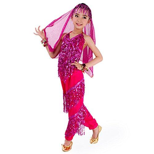 SymbolLife, costume completo da bambina, motivo danzatrice odalisca, per carnevale e Halloween, top + pantaloni da odalisca + velo, Rosa, L