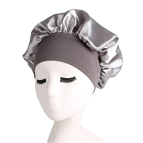 EPAWSWENLONG Soins des Cheveux pour Femmes Satin Cap Night Sleep Chapeau Soie Wrap Head Wrap Ajuster Bonnets de Douche, Argent