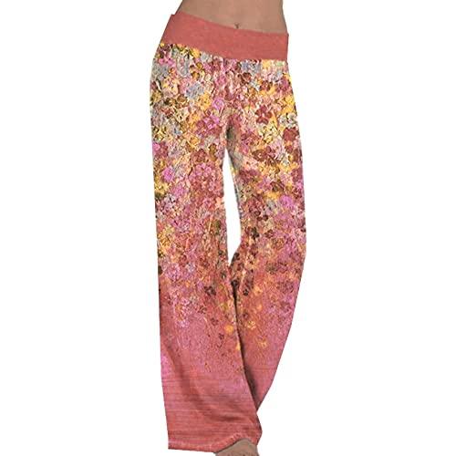 Primavera Y Verano Pantalones Anchos Casuales para Mujer Pantalones Deportivos De Pierna Ancha para Yoga con Estampado Suelto Mujer