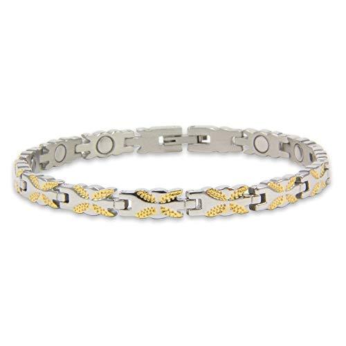 first4magnets™ Damen-seltene Erden-Magnetarmband mit Faltschließe – Ceres, Metall, Silver, 25 x 10 x 3 cm