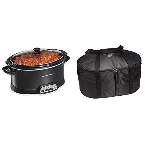 Best Prices! Hamilton Beach Portable 7-Quart Programmable Slow Cooker With Lid Latch Strap, Black (3...