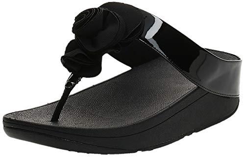 FitFlop Women's Florrie Toe-Thong Sandal, Black Patent, 8 M US