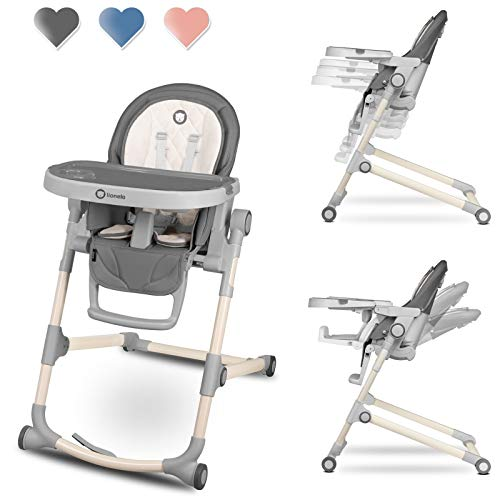 Lionelo Cora Hochstuhl Baby, Kinder Hochstuhl bis 15 kg, höhenverstellbar, regulierbare Rückenlehne, doppeltes Tablett, Einsatz für Kleinkinder (Grau)