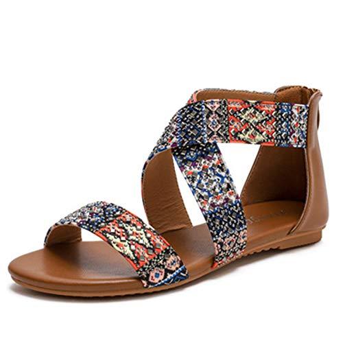 Sandalias de Punta Descubierta Mujer Verano Moda Senderismo Zapato Elegante Roma Bohemia Zapato Casual Ligero Talón Pendiente Shoes - Cremallera en el talón (Color : Brown, Size : 41)