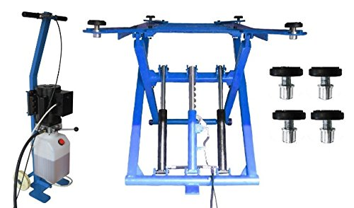 OnlineMoto24 Mobile Scherenhebebühne (DSLP 6062) Modell 2021 inkl. Zubehör (blau-ohne Öl-230 V)