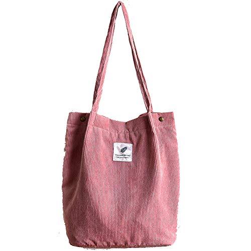 Funtlend Umhängetasche Damen Cord Tasche Shopper Damen Handtasche Damen henkeltasche für Uni Arbeit Mädchen Schule(Pink)