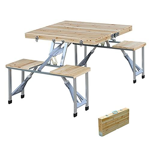 QUMENEY Banco de mesa plegable de madera para camping, picnic, 4 asientos, 1 mesa con agujero para paraguas y taburetes para interiores, exteriores, patio, césped, jardín
