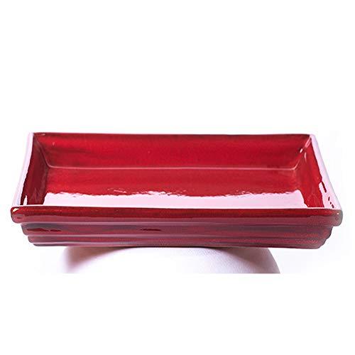 ALFAREROS DAMIAN CANOVAS Plato Rectangular para Bonsai ESMALTADO EN Color Rojo.Medidas 28X22X2.Modelo E4BR