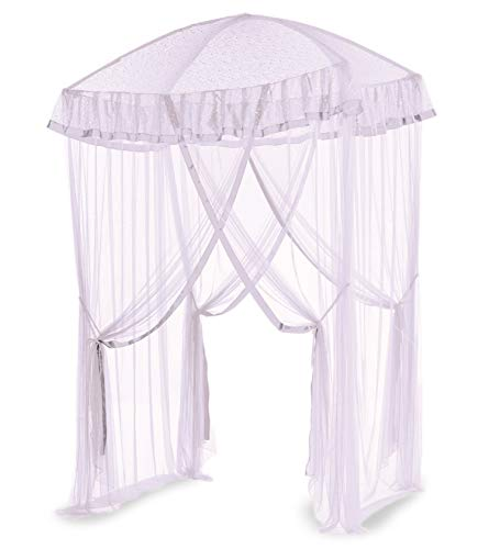 HearthSong Sparkling Lights Light-Up Bed Canopy for Twin, Full, or Queen Beds, 58' L x 50' W, White (729530-WH)
