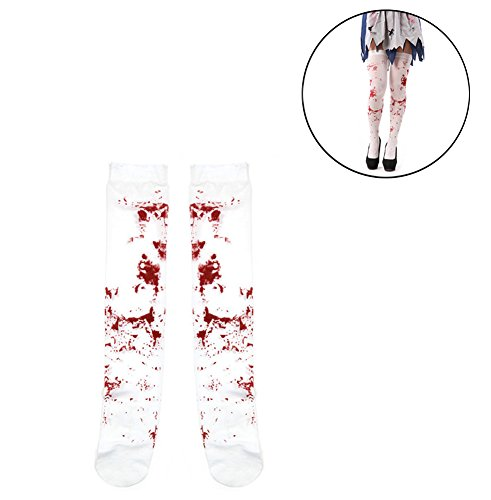 AprilElst Halloween Bloody Stock Scary Women Girl Bloody Stain Long Silk Stock Pantybroek Cosplay Party Prop
