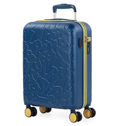 Lois - Maleta Pequeña de Cabina para Viaje. Puerto USB Doble. 4 Ruedas Dobles Trolley 55 cm. ABS. Equipaje de Mano. Rígida, Cómoda y Ligera. Low Cost. Candado TSA. 171150, Color Azul