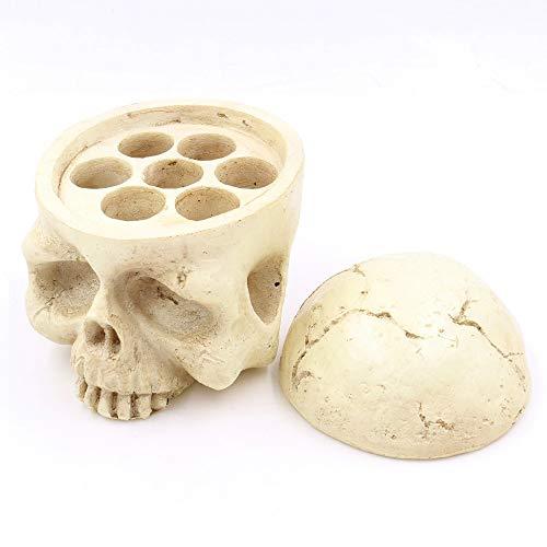 Soporte de taza de tinta de tatuaje - SOTICA 7 agujeros Cabeza de cráneo Soporte de tapa de taza de tinta Soporte de tapa de pigmento de tatuaje de resina dura 3D creativo para suministros de tatuaje