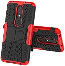 CATRON-Fitted Cases - Plastic Silicone ShockProof Protector Armor Case For Nokia 3.2 4.2 2.1 3.1 5.1 6.1 Plus 7.1 8.1 X5 X6 X7 1 2 3 5 8 6 Phone Cover (Red For Nokia 6.1 Plus)