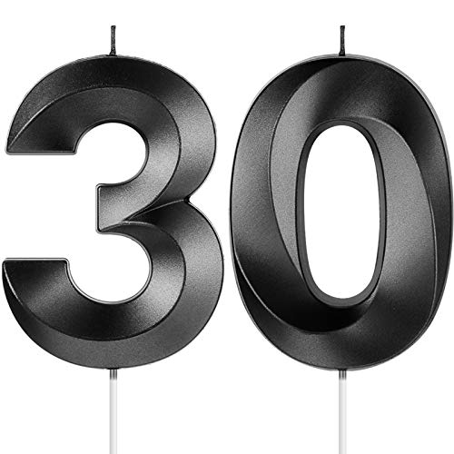 30th Birthday Candles, 3D Diamond Shape Number 30 Candles Cake Topper Numeral Candles for Party Decoration Reunions Theme Party Anniversary (Black, 4 Inch)