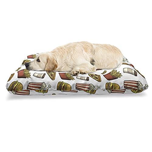 ABAKUHAUS Fast Food Haustierbett, Burger Popcorn Hotdog, beissfestes Kissen für Hunde und Katzen mit abnehmbaren Bezug, 60 cm x 100 cm, Mehrfarbig