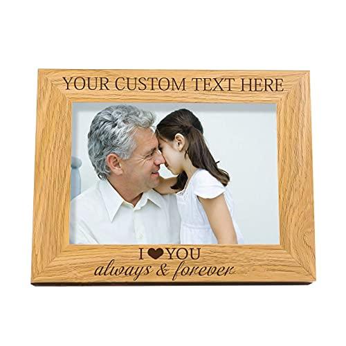 """FINGERINSPIRE Marco de fotos personalizado con texto en inglés """"I Love You Words"""" grabado personalizado para añadir texto personalizado/marco de madera maciza para (15 x 10 cm)"""