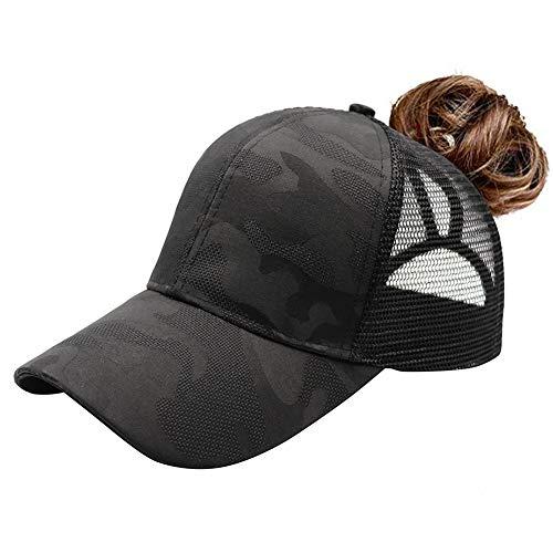 Lvaiz Womens Ponytail Messy HighBuns Trucker Ponycaps Camouflage Patchwork Baseball Cap Dad Hat Adjustable Snapback (O-camo Black, One Size)