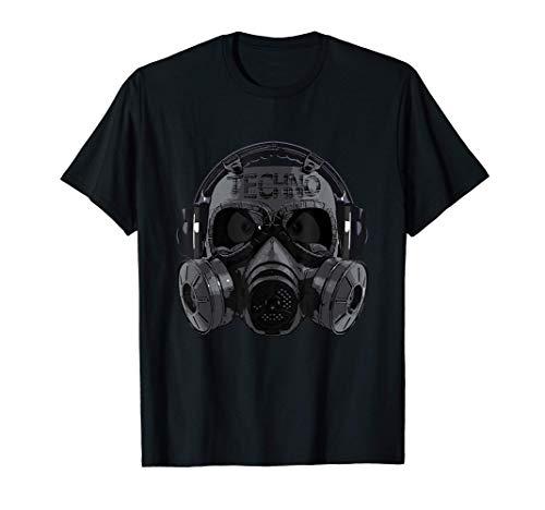 Techno Head Gasmaske Kopfhörer Acid Hardstyle Dark Techno T-Shirt