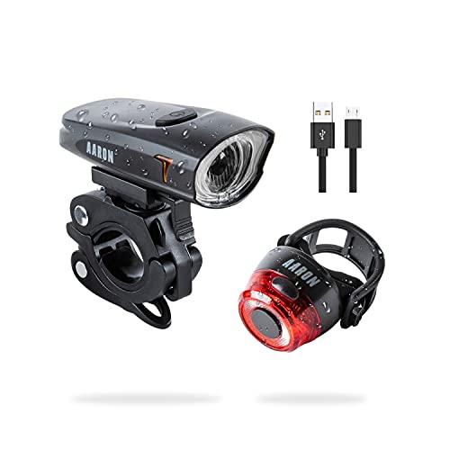 AARON LUX LED Fahrradlicht Set mit wiederaufladbarem Akku - werkzeugloses Montieren am Lenker deines Fahrrads oder E-Bike - Fahrradbeleuchtung vorne und hinten - schwarz