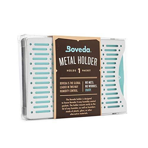 Boveda für Zigarren   Boveda-Halter aus gebürstetem Aluminium für Humidor   zur Verwendung bei einem (1) Boveda der Größe 60 (separat erhältlich)   mit Magnet- und Velcro®-Befestigungssets   1 Stück