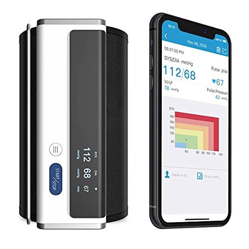 Armfit Bluetooth Blutdruckmessgerät Oberarm, Blutdruck Maschinen für den Heimgebrauch mit großen Manschette, tragbare drahtlose Blutdruckmanschette kompatibel mit APP für iOS und Android