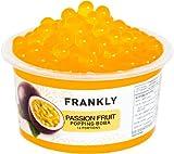 FRANKLY Popping Boba al Frutto della Passione, barattolo da 490gr - Per Bubble Tea, Yogurt, Torte e Dolci